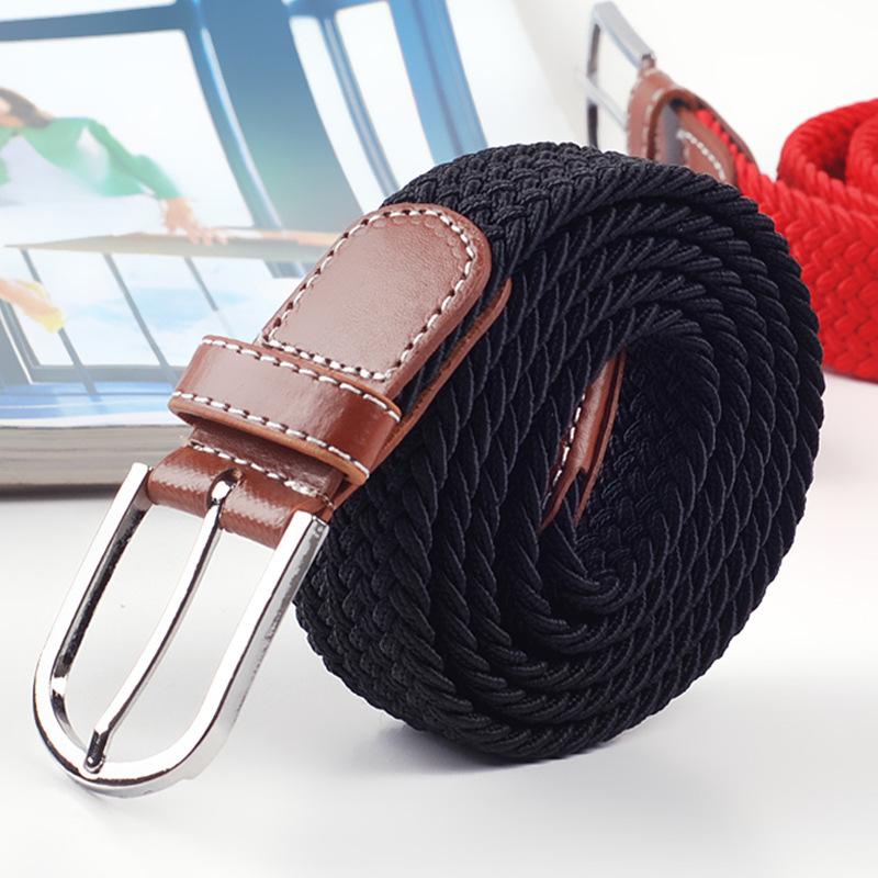 2015 men leisure needle canvas belt belt buckle joker elastic stretch woven belts block(China (Mainland))
