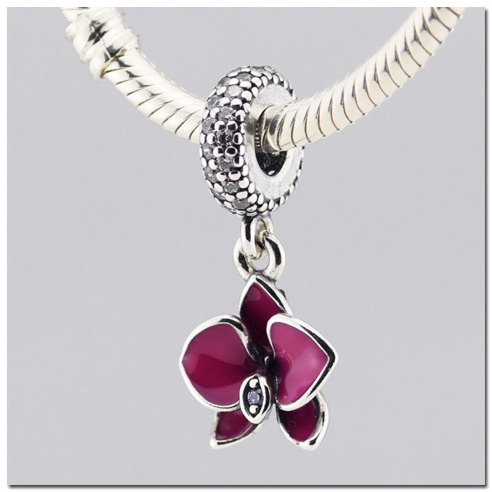 Authentic 925 Sterling Silver charms fit pandora charms orchid dangle with clear and purple CZ and
