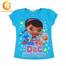 2016 Summer Clasical Doc Mcstuffins Costume Girl T-Shirts Children Cotton Doc Mcstuffins Clothes T Shirt For Baby Girls Tees