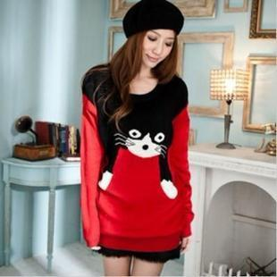 Pullover Sale Poncho New 2015 Women Clothing Loose Cartoon Sweaters O-neck Medium-long All Matched Cats Sweater Knitted In Stock(China (Mainland))