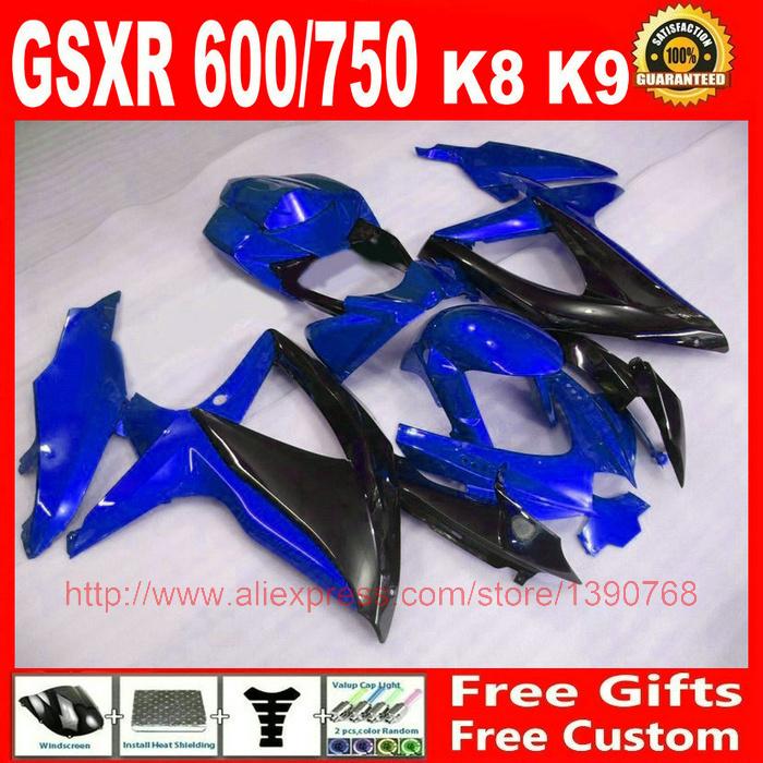 plastic Fairing kit for Suzuki 2008 2009 2010 GSXR 600 GSXR 750 blue black fairings set K8 08 09 10 GSX R 600 750 ZM43(China (Mainland))