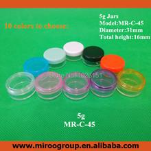 FreeShip High Quality Cheap 100PCS 5ml 5g PS Cosmetic Bottle for Eye Cream Nail Art Eyeshadow Plastic Round Cream Jar with lids