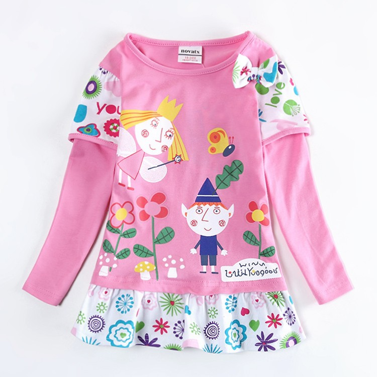 Girls dresses hot selling children cartoon clothes Ben and holly nova kids girls clothing kid fairy tale baby wear girls frocks