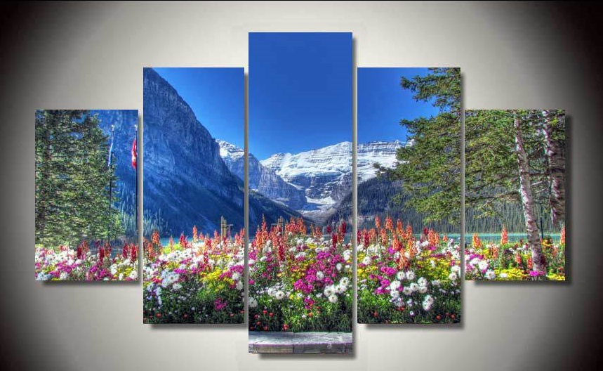 unframed Printed Landscape 5 piece picture painting wall art children's room decor poster canvas Free shipping(China (Mainland))