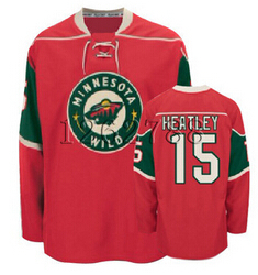 Top Stitched Customized Men's Ice Hockey Jersey Minnesota Wild #15 Dany Heatley Red Home Jersey,Accept Drop Shipping(China (Mainland))