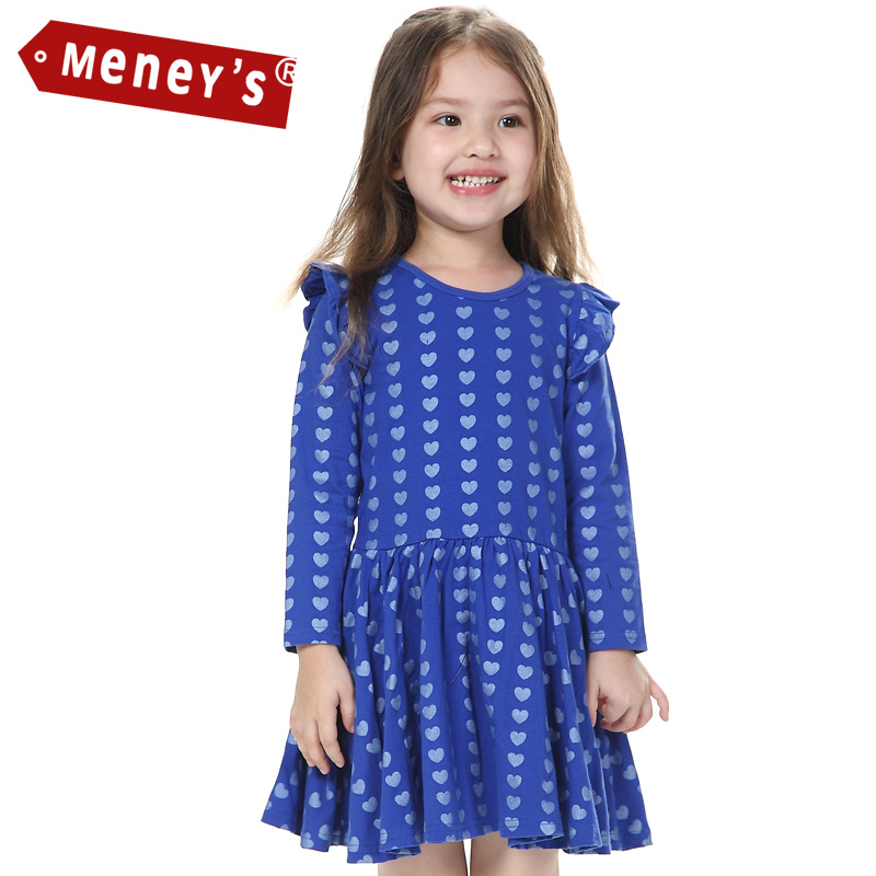 Meneys WD-001 Winter Kids Dress 2015 Pattern Heart Dot Full Sleeve Girls Clothes Thick Cotton Petal Sleeve Baby Girl Dresses<br><br>Aliexpress