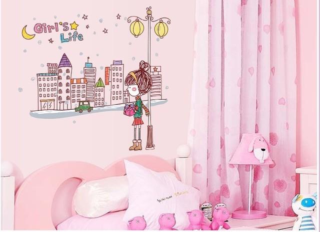 Мультфильм маленькой девочки ездить на птицы стены стикеры для детей номеров спальня пвх наклейки на стены обои Nursey декор номеров