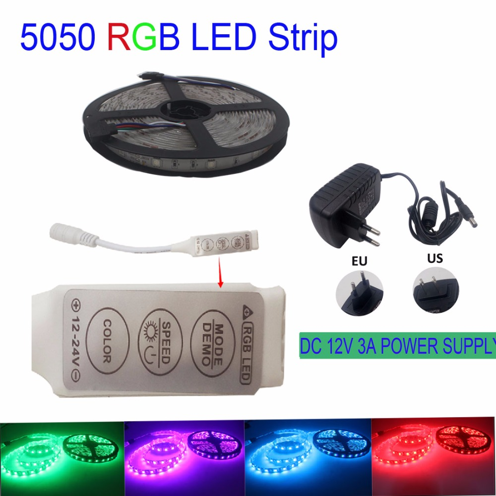 Led Strip 5050 RGB 150Leds Flexible LED Tape IP20 light tape Non-waterproof + IR 3Key Remote Controller +12V 3A Power Adapter(China (Mainland))