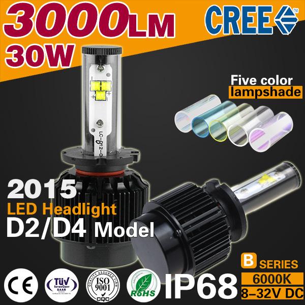2015 Super Bright 3000LM/Bulb 30W 6000k Car D2/D4 LED Headlights model ip68 Light source HeadLamp far better xenon Hign Quality(China (Mainland))