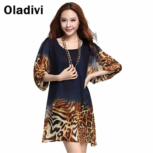 3XL Plus Size Loose Style Women Blouses 2015 Summer New Fashion Floral Leopard Printing Chiffon Shirt Tops Short Dress Hot QZ201(China (Mainland))