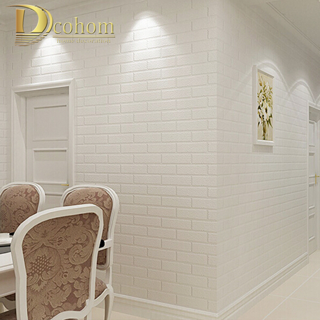 Pvc vinil branco espessamento parede de tijolo para paredes tv r stico parede de tijolos fundo - Papel vinilico para paredes ...