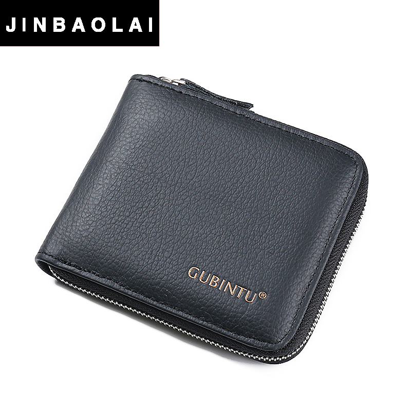 Genuine Leather Wallet For Men With Zipper Coin Pocket Card Holder Purse Men Wallets Leather Genuine Wallet New Design Wallet(China (Mainland))