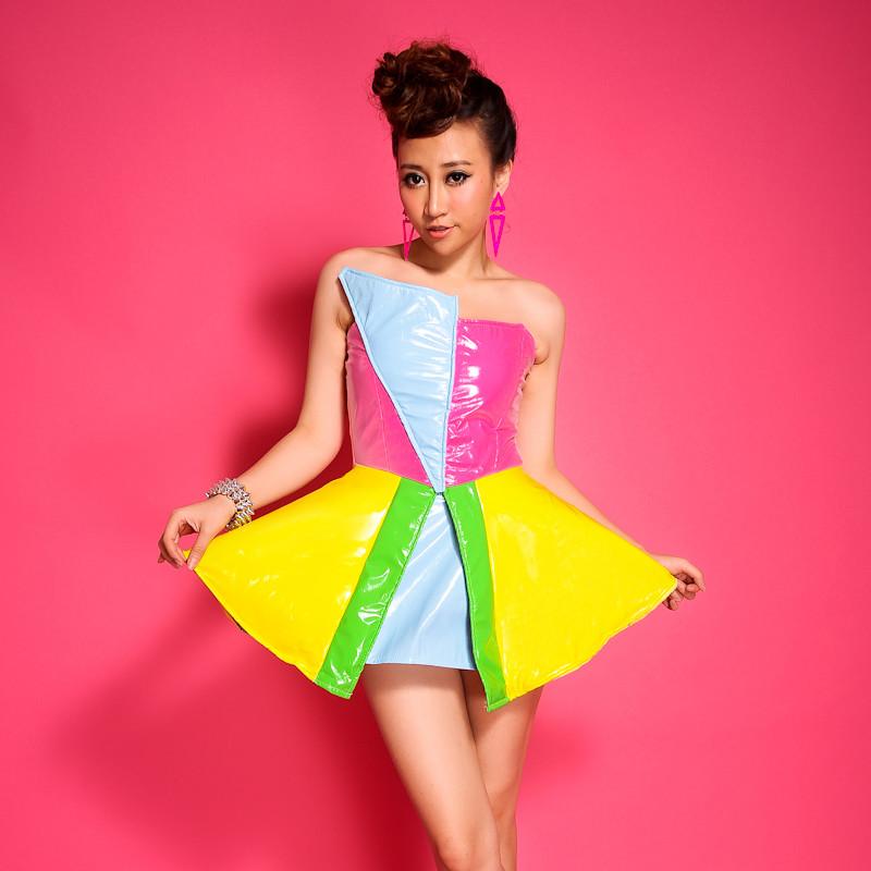 EUR Stars/PU leahter/Fashion ds short dress women sexy yellow pink jazz dance color block decoration one-piece dress(China (Mainland))