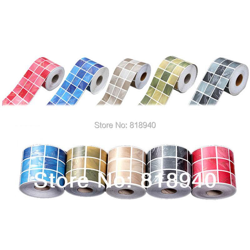 Self Adhesive Wall Skirting Border Art Paper Mosaic Decorative PVC Sticker 5M(China (Mainland))