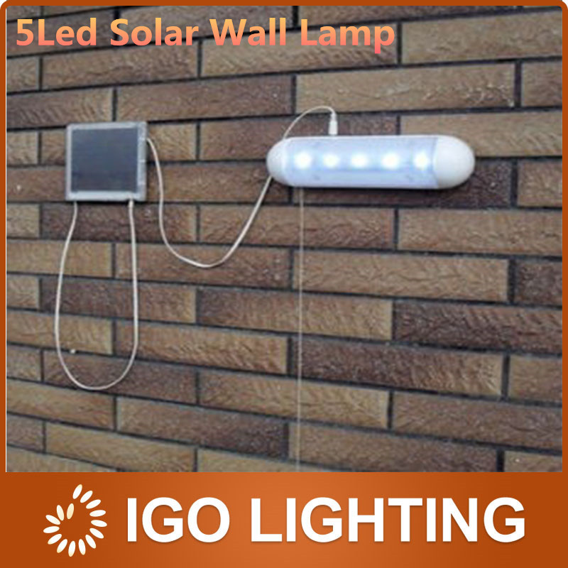 1pc Popular Split Solar Pull Light 5 LED Outdoor emergency light Durable Stainless Steel Plastic garden/hallway Solar wall Lamp(China (Mainland))