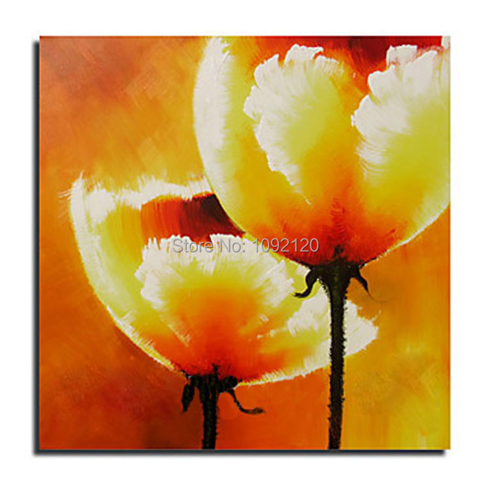 Hand Painted Home Decor Art Abstract Yellow Corn Poppy Flower Oil Painting On Canvas Pop Paintings On The Wall(China (Mainland))