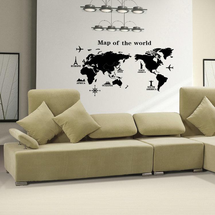 Pvc amovible vinyle art de carte du monde wall sticker for Acheteur maison du monde
