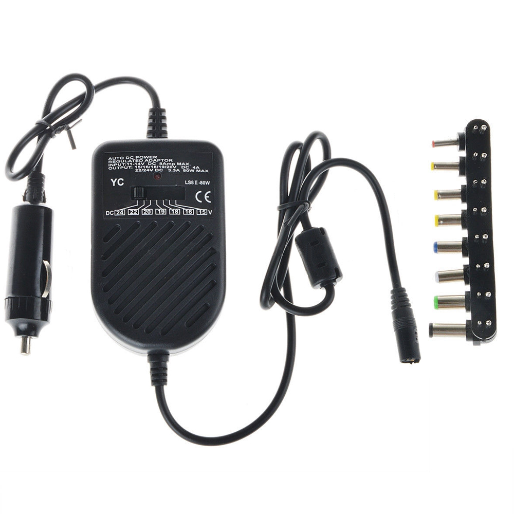 Universal 80W DC Car Charger Laptop Notebook Adapter Auto Adjustable LED Power Supply Set + 8 Detachable Plugs Computer Charger(China (Mainland))