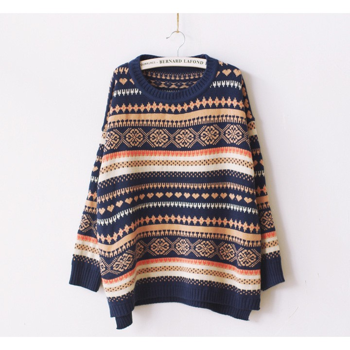 2015 Vintage Women's Wear Winter Long Sleeve Knitted Pullover Jumper Loose Thick Sweater Knitwear Women's Sweater 2 Colors(China (Mainland))