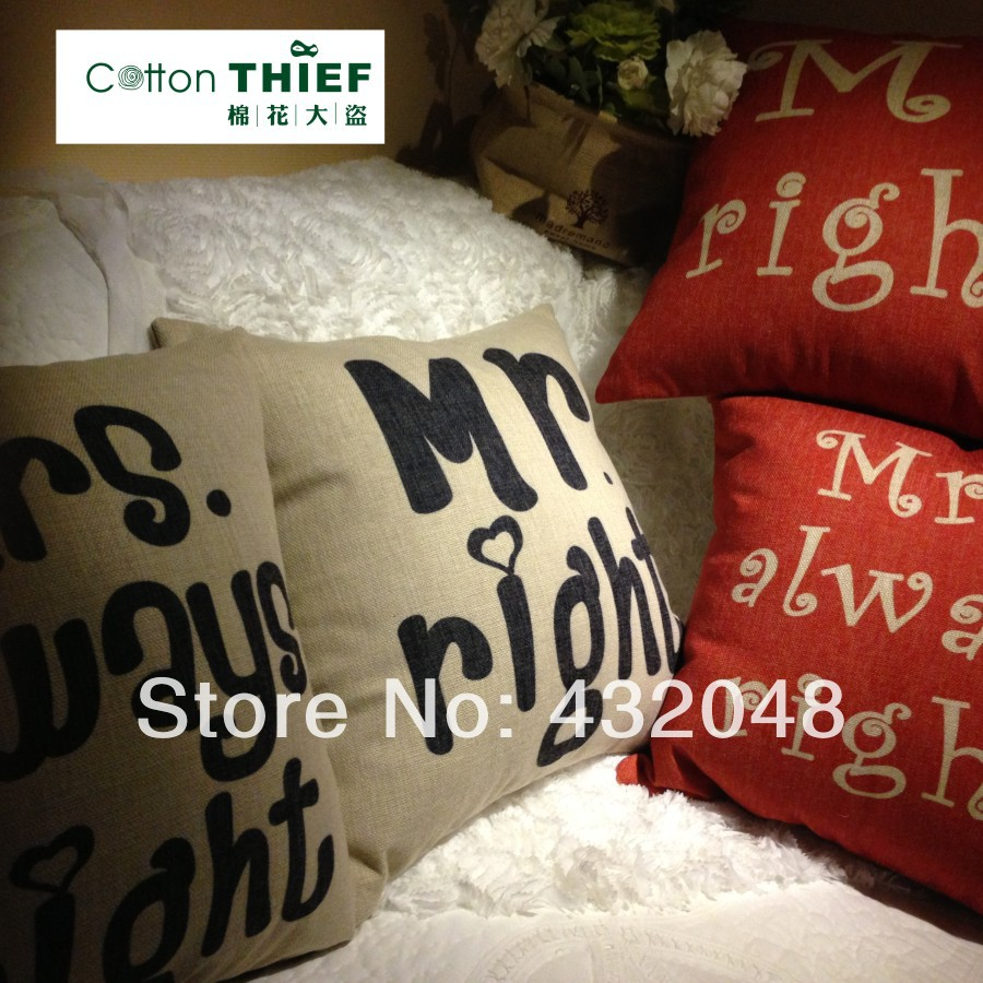 free shipping linen pillow cushion cover modern brief core personalized mr and mrs(China (Mainland))