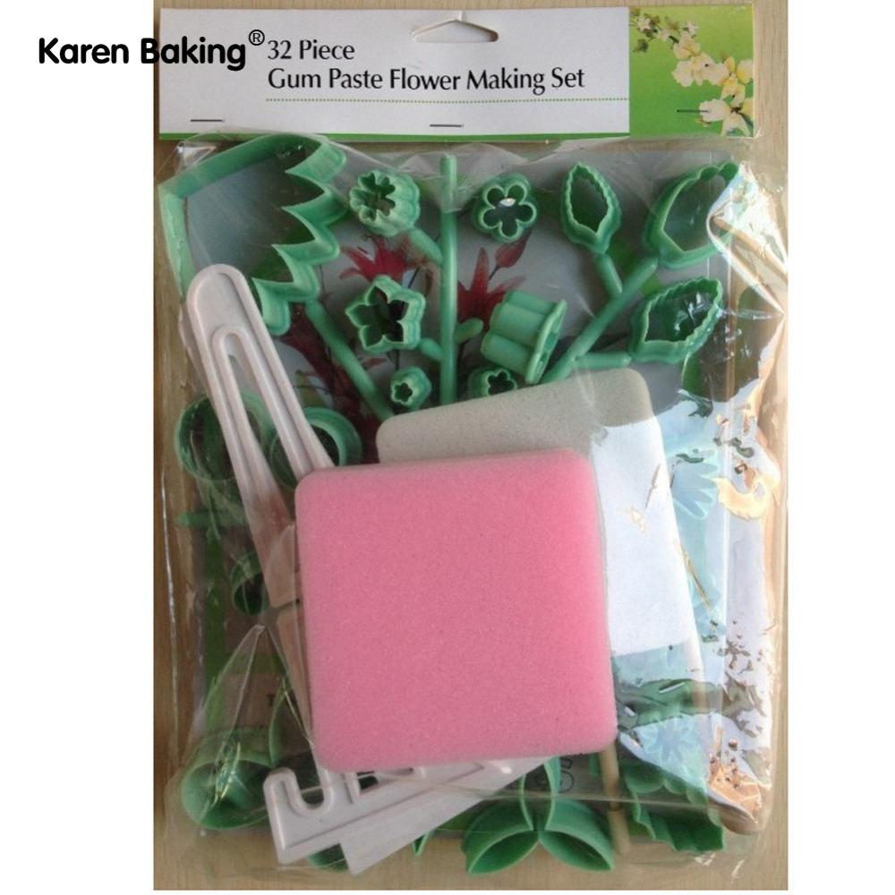 32 PCS New Gum Paste Flower Making Set Fondant Cake Decoration A054(China (Mainland))