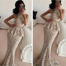 Saudi Arabic 2016 Elegant Gray Lace Mermaid Evening Dresses With Peplum O Neck Dubai Ladies Party Gowns Vestido De Festa Longo
