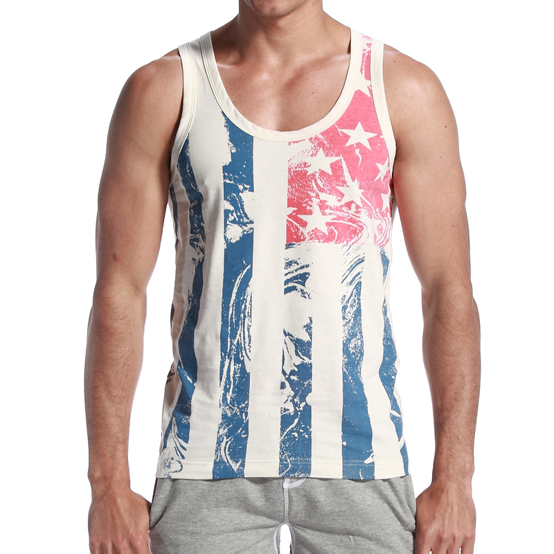 On Sale Brand Sexy Men Tank Top American Flag Slim Vest vintage Vertical Stripe Fitness Sports Vest Tank Tops 13 Stylish(China (Mainland))