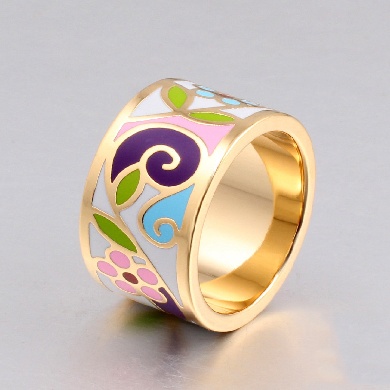 New arrival flower enamel ring 18k gold plated Geometric patterns ring 1.3CM big rings for women ethnic jewelry mother gift(China (Mainland))
