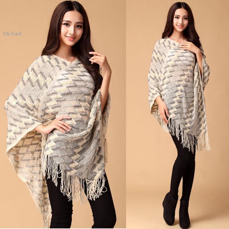 Fashion Sweater Cloak for Women Winter Batwing Sleeve Fringe Irregular Hem Loose Cover Up Tops Knitting 29(China (Mainland))
