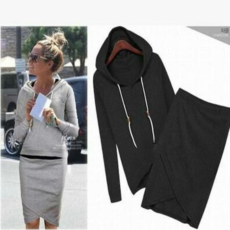 2016The New Cool Fleece Suit Women Hooded Cultivate One's Morality Skirt Suits Autumn