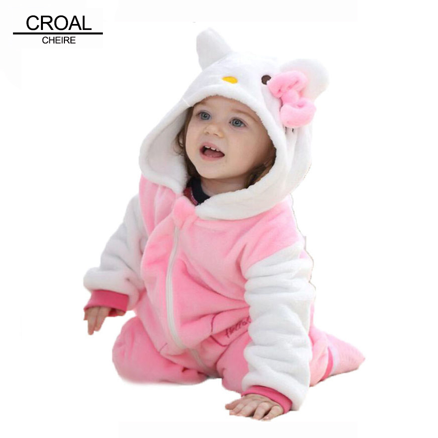 Kawaii Hello Kitty Panda Baby Girls Clothes Animal Baby Rompers Costume Winter Fleece Clothes For Boys Warm Snowsuit Jumpsuit(China (Mainland))