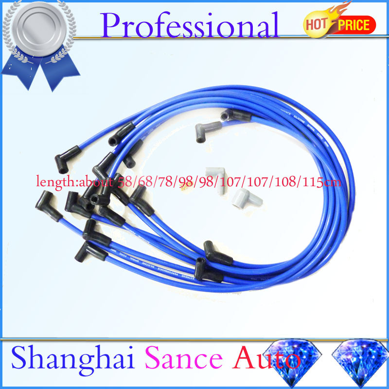 Race Spark Plug Wire Cable Set Kit 9mm 73684 Ultra 40 Spiral Core 8.65mm Blue 90 HEI Degree Silicone Over Valve Cover