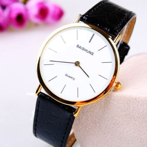 Free Shipping 2014 Fashion Quality Ultra thin Strap Watch Men Quartz Wristwatch Leather Band Watches