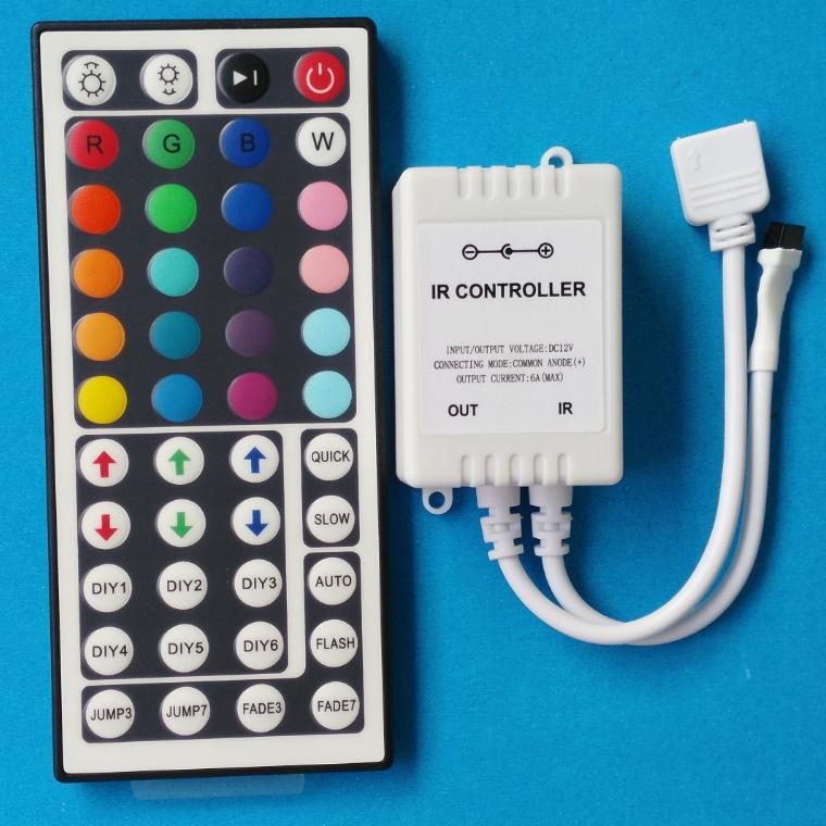 DC 12V 44 key IR remote LED controller for RGB 5050 3528 strip lamp bulb 6A Free shipping(China (Mainland))