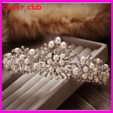 Fashion Handmade Pearl Beads Crystal Flower Rhinestone Hair Tiaras Crowns Wedding Accessories - Super Club Store store