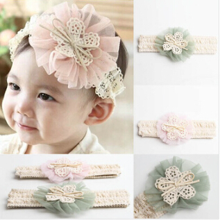 Hot Sale Cute Baby Girl Kid Toddler Headband Lace Flower Hairband 4 Colors Drop Shipping 1Pcs/Lot A065(China (Mainland))