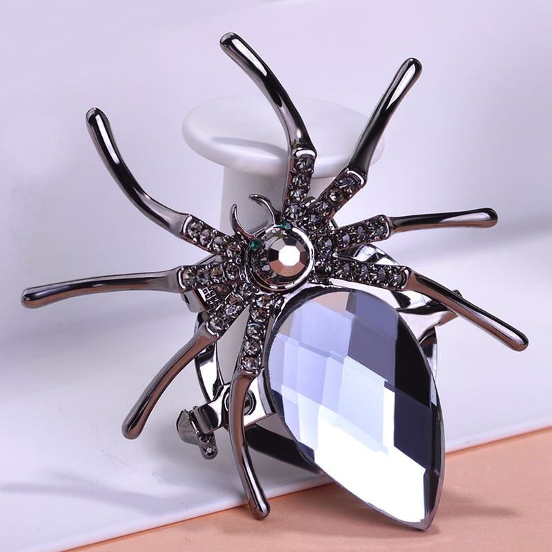 Black Spider Glasses Large Wedding Jewerly Brooches Crystal Hijab Pins Up Cheap Broches Brand Insects Broaches Mix Lot Wholesale(China (Mainland))