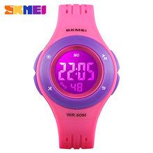 SKMEI moda dzieci LED cyfrowy zegarek 5Bar wodoodporne dzieci zegarki sportowe dla chłopców dziewcząt zegarek Montre wlać enfants zegar(China)