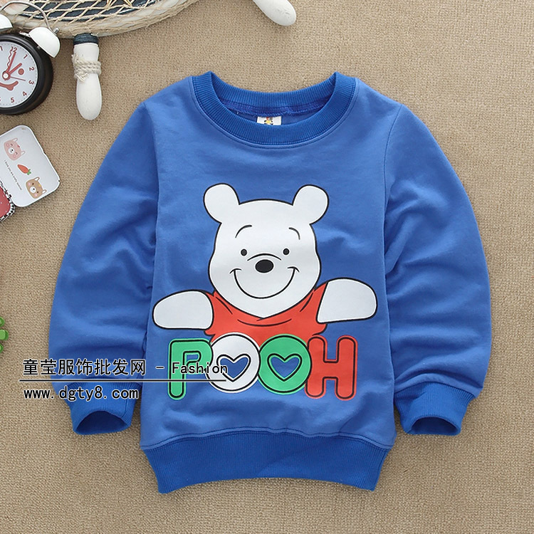 2015 spring autumn pooh printed boys and girls sweatshirts kids coat cotton material fashion casual retails(China (Mainland))