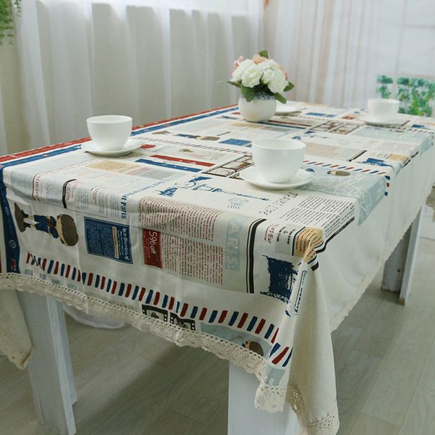 Europe Style Cotton Table Cloth Cartoon Tower Printed Rectangular Table Covers Party Tablecloth Nappe Mantel Free Shipping ZB-40(China (Mainland))