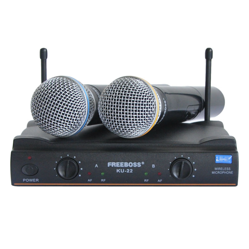 KU-22 New handheld Dual Channel professional  UHF Wireless Microphone<br><br>Aliexpress