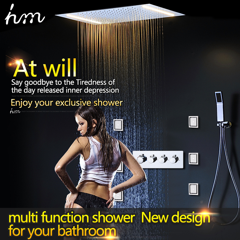 hm Thermostatic Mixer Bathroom Ceiling LED Rain Shower Set With 2 Lights with Handshower body jet massage(China (Mainland))
