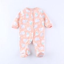 4pcs/Lot (0-12M) Baby Newborn Fleece Dog Jumpsuits For Fall Long Sleeved Coveralls One-Piece Pajamas For Baby Girls freeshipping(China (Mainland))