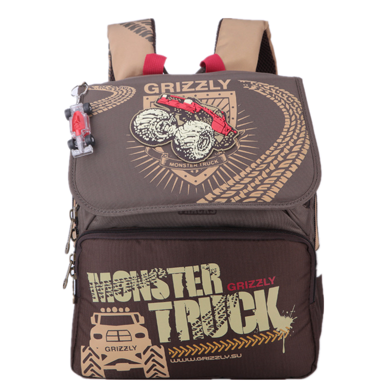 GRIZZLY Children School Bags Kids Cartoon Truck Backpack Boy Student Waterproof Casual Backpack for Teenagers(China (Mainland))