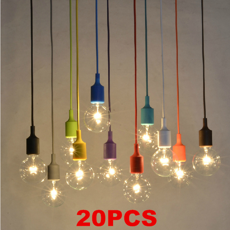 20 pcs Colorful Pendant Lights Modern Vintage Bulbs Bar Restaurant Bedrooms Large Shopping mall Muuto E27 Art Pendant Lamp<br><br>Aliexpress