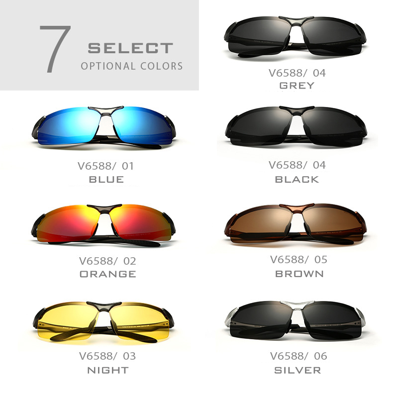 VEITHDIA and BOX Aluminum Magnesium Polarized Sunglasses Men oculos masculino Sports Sun glasses Mirror Male Eyewear