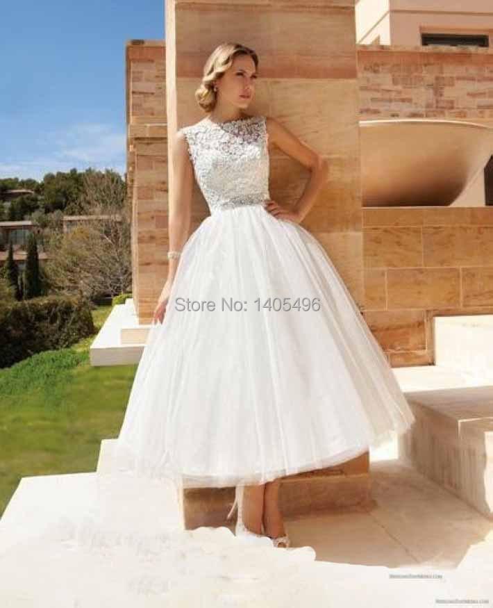 Vestidos De Noiva Vintage Short Organza Open Back Lace