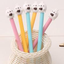 6pcs/lot 0.38mm Novelty Coffee Cup Molang Rabbit Gel Ink Pen Promotional Gift Stationery School & Office Supply(China (Mainland))