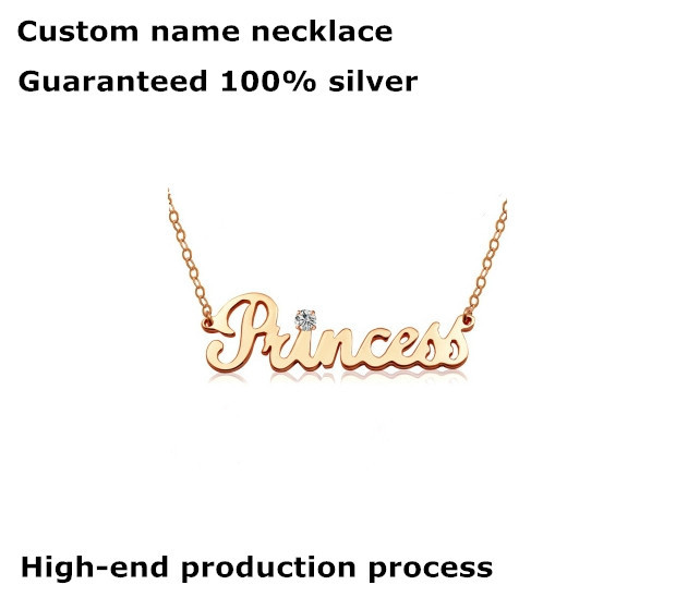 Customize Letter Name 925 Sterling Silver Necklace Pendant Handmade 24k Gold Platinum Rose Gold Plated Monogram