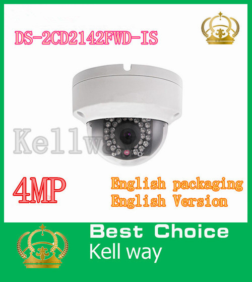 Original English WDR Dome CCTV camera 4MP SD recording ,Alarm and audio 30m IR DS-2CD2142FWD-IS<br><br>Aliexpress